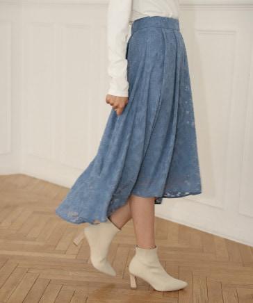 【着丈が選べる】ジャガードフラワースカート