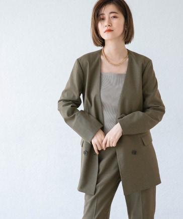 【オンオフ着回し】TRPUノーカラーダブルジャケット