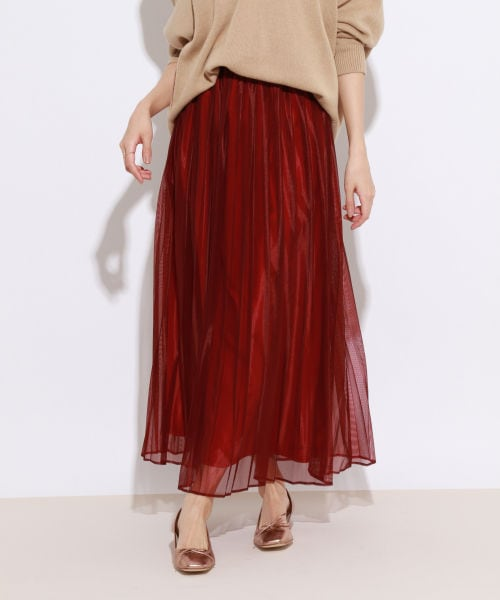ラッセルレースプリーツスカート...