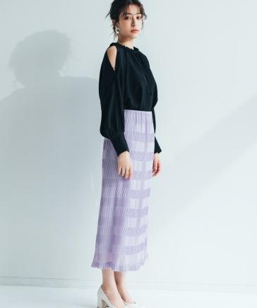 プリーツライクタイトスカート