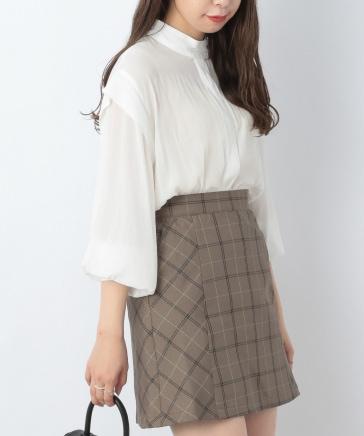 【10/12プライスダウン】スタンドネックバックフリルシャツ