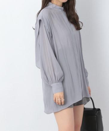 スタンドネックバックフリルシャツ