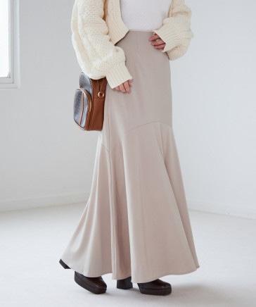 サテンキリカエマーメイドロングスカート
