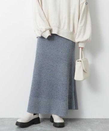 カラーネップニットフレアスカート
