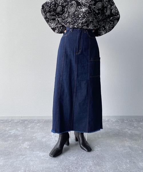 スカート デニム ロング