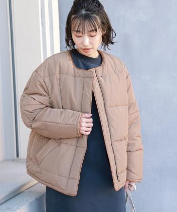 エコレザートリムネックパファージャケット