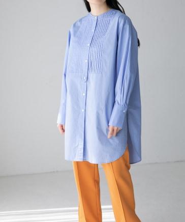 【yuw】ピンタックドレスシャツ