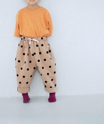 【KIDS】コットンプリントテーパードパンツ