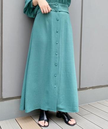 【新色登場】【セットアップ対応】楊柳ボタンフレアスカート