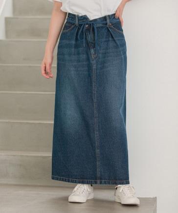 [niko and ...JEANS 2021AW]イレギュラーウエストタイトスカート