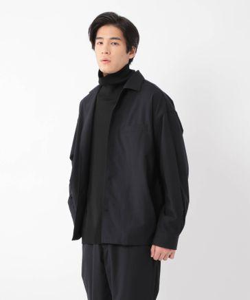 【尾州産ウール】オープンカラーポケットシャツ