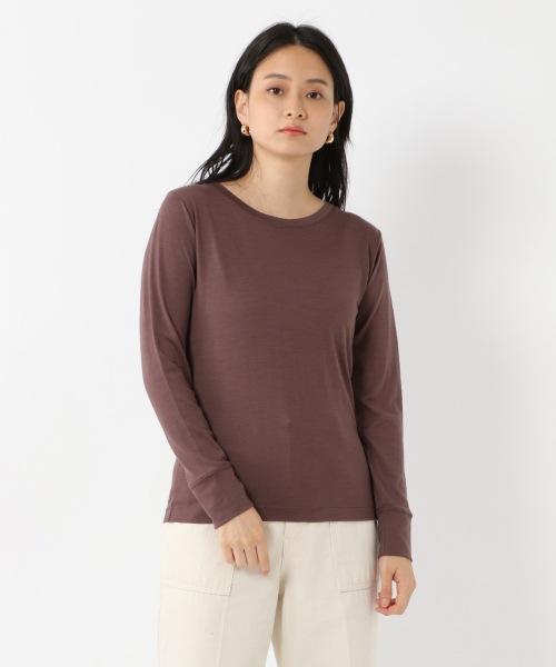 洗える100%メリノウールジャージ長袖Tシャツ