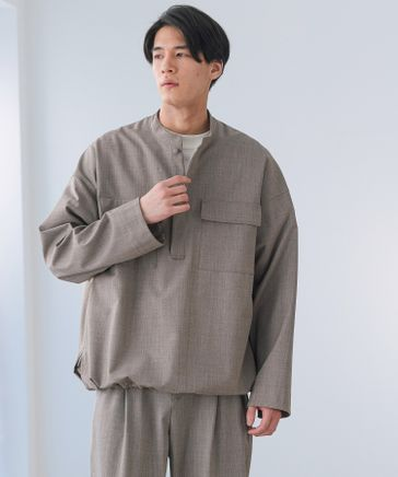 【再生ポリエステル】ダブルポケットプルオーバーシャツ