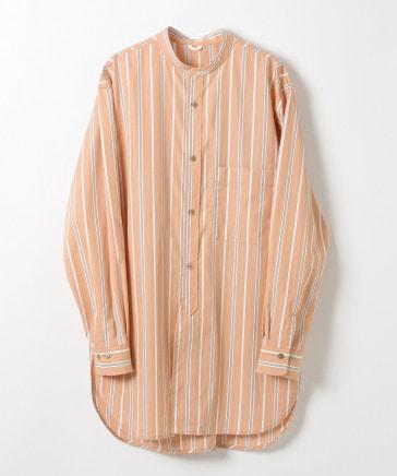 【BCI認証コットン】バンドカラーストライプロングシャツ (ユニセックス)
