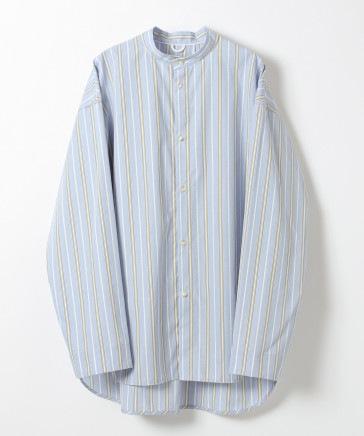 【BCI認証コットン】バンドカラーストライプシャツ (ユニセックス)