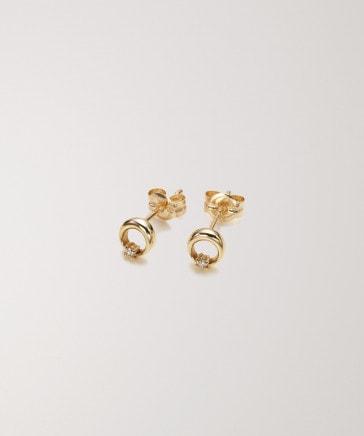 【予約】【Briller】K10ムーンプチダイヤモンドピアス