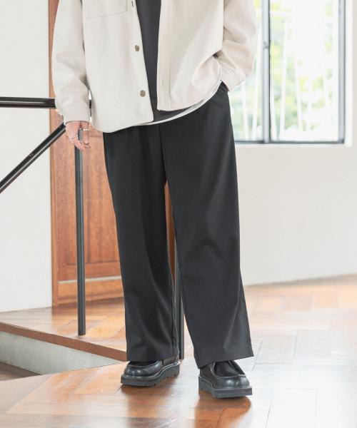 ウールタッチ/タックワイドパンツ
