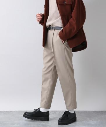 センタープレス/裏起毛PEツイルテーパードスラックス