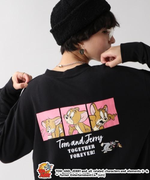 【WOMENS】トムとジェリー/バックプリント裏毛スウェットクルー