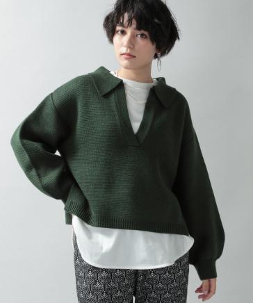 【WOMENS】袖ボリュームユルスキッパーニット