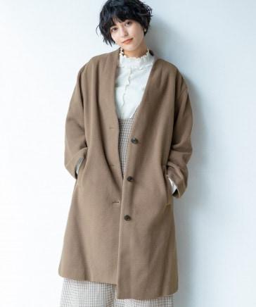 【WOMENS】ケープメリノノーカラーコート