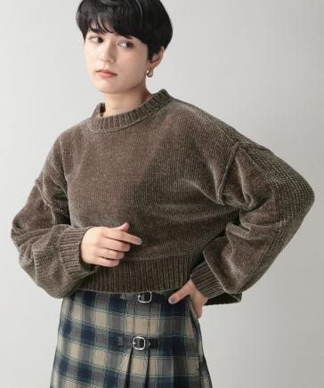 【WOMENS】ソデパフモールショートニット