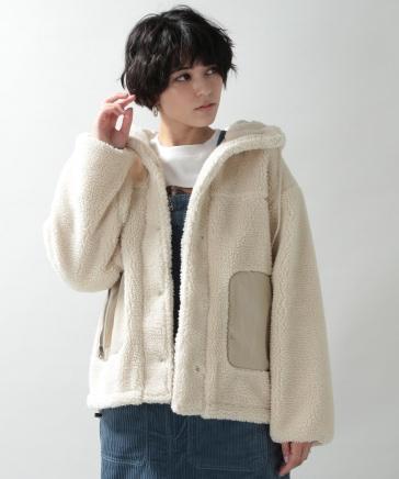 【WOMENS】ボアフーディーブルゾン