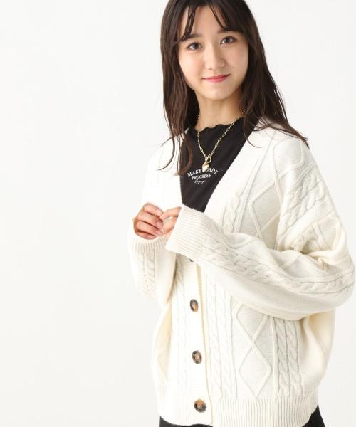 ☆セットアイテム☆【おうち洗濯可】ケーブルニットカーディガン&メロウTシャツ