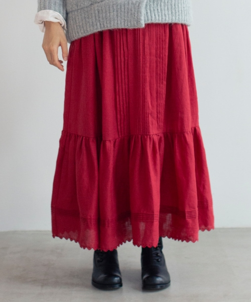 《WEB限定/Natural by studio CLIP》リネンスカラップロングスカート
