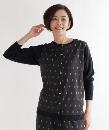 《ウタオ》カワセミプリントニットカーディガン