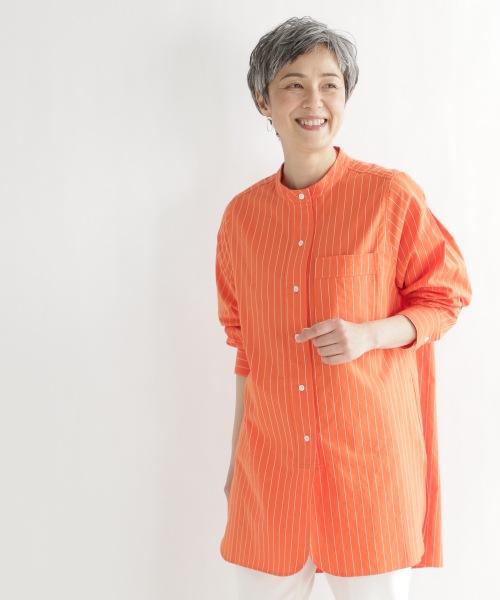 《ウタオ》ステッチストライプシャツ
